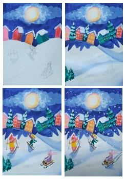 рисуем катание на лыжах