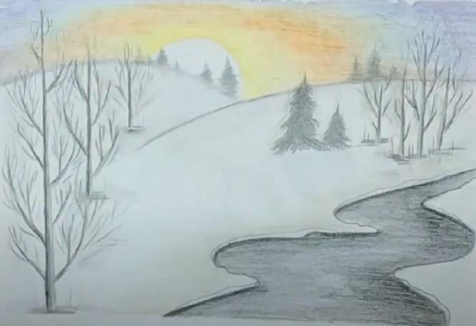 зимний лес карандашом