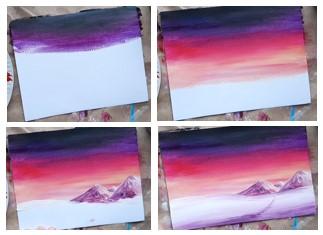 розовые небеса красками