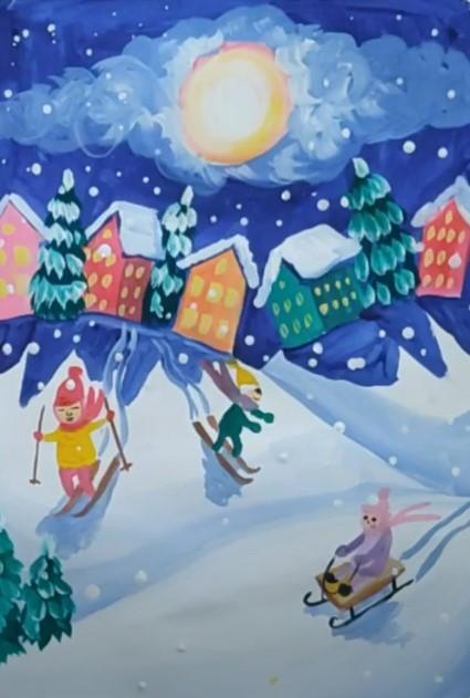 зимние детские забавы красками