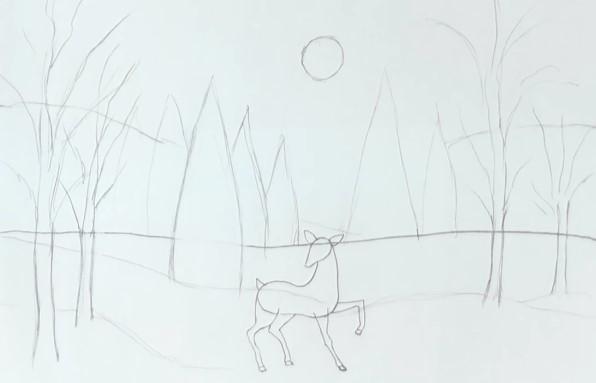 набросок леса карандашом