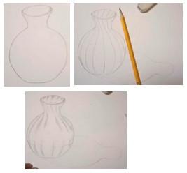 намечаем контуры стеклянной вазы