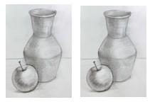 кувшин и яблоко простым карандашом