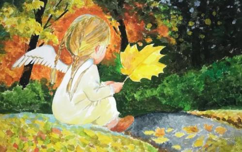 ангелочек и осенний лист