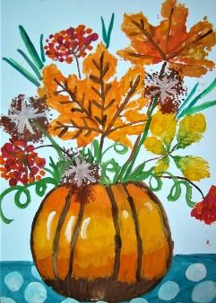 букет цветов в тыкве