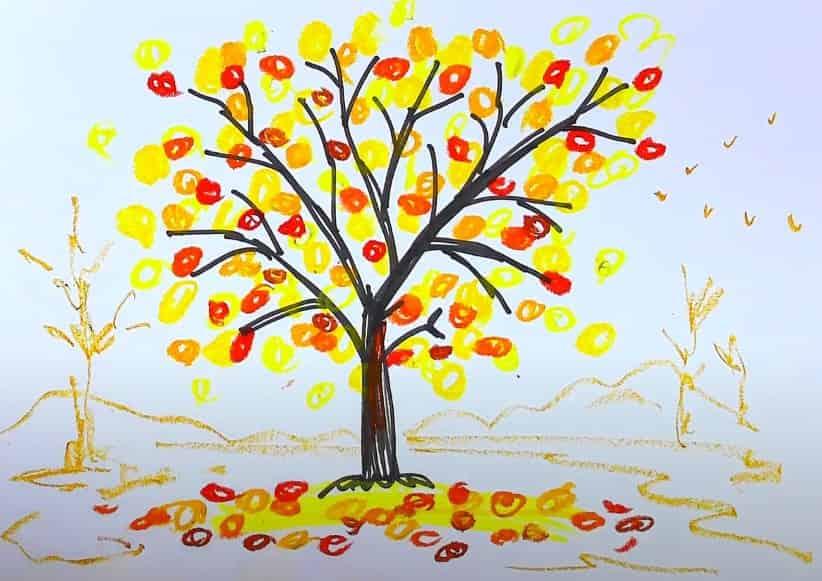 осеннее дерево карандашом
