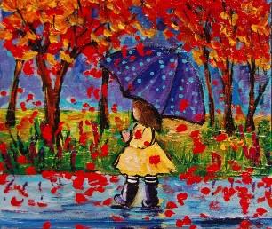 девочка в осеннем лесу рисунок