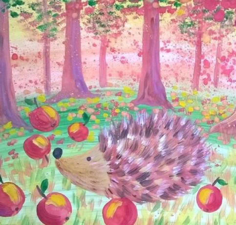 ежик в лесу рисунок