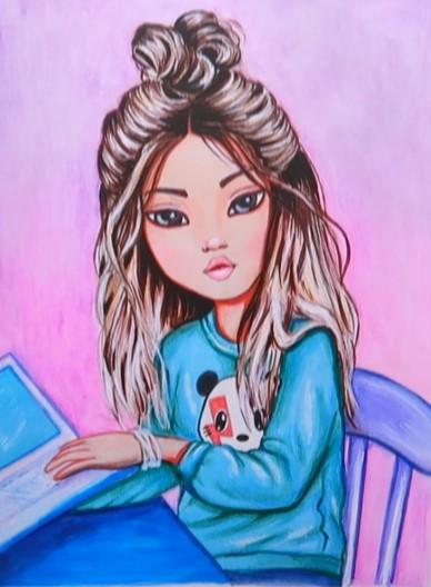 девочка с ноутбуком рисунок