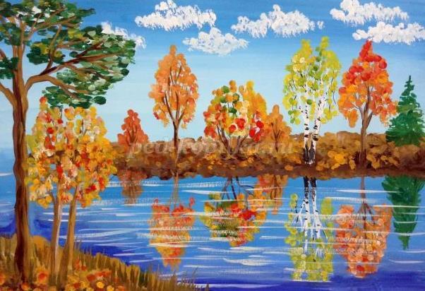 осень гуашью