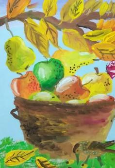 яблоки осенью рисунок