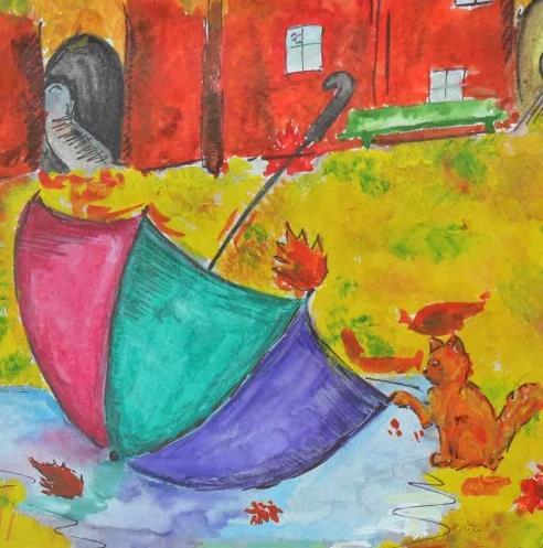 кошечка и зонт