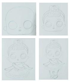 рисуем куклу лол поэтапно