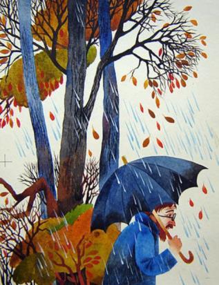 мужчина под дождем рисунок