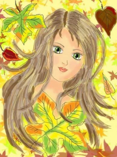 портрет девочки с осенними листьями