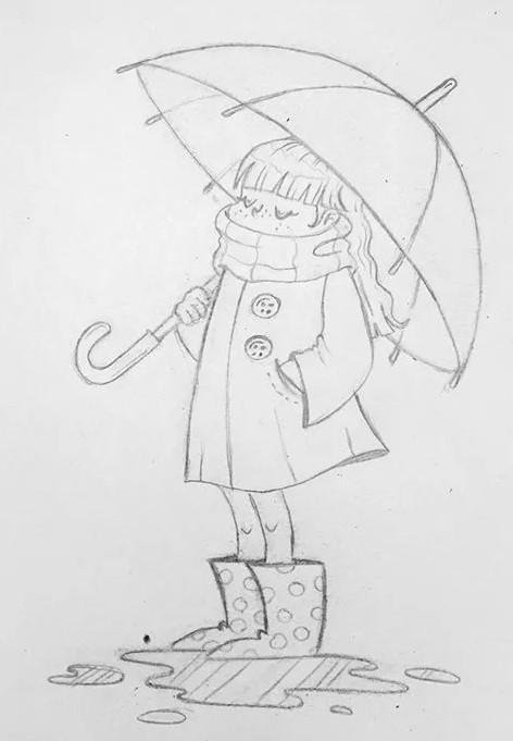 девочка с зонтом простым карандашом