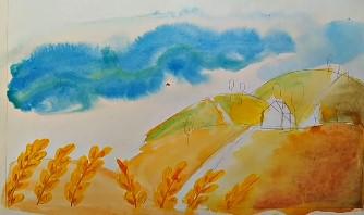 пшеница в поле красками
