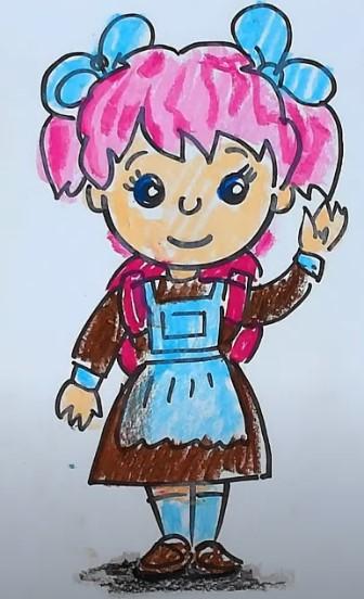 рисунок школьницы карандашами
