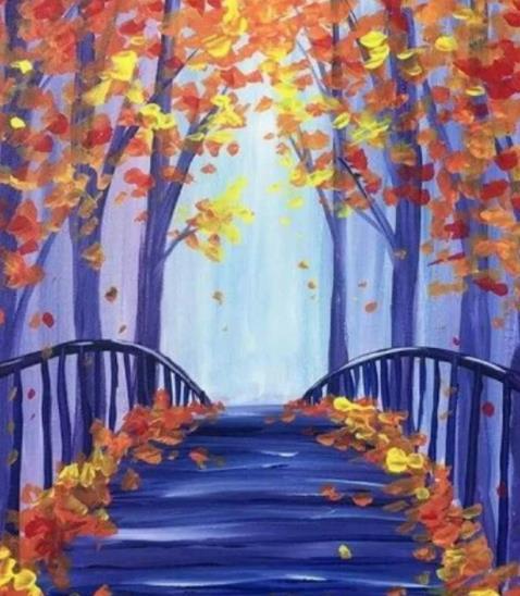 синий осенний мост