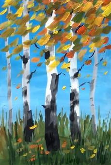 слой желтой листвы