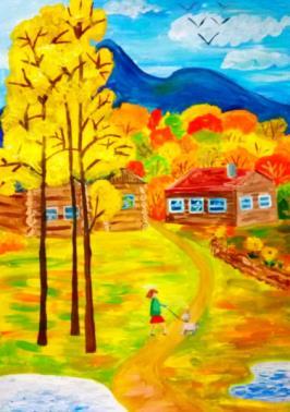 осень в деревне рисунок