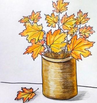 осенние листья в вазе