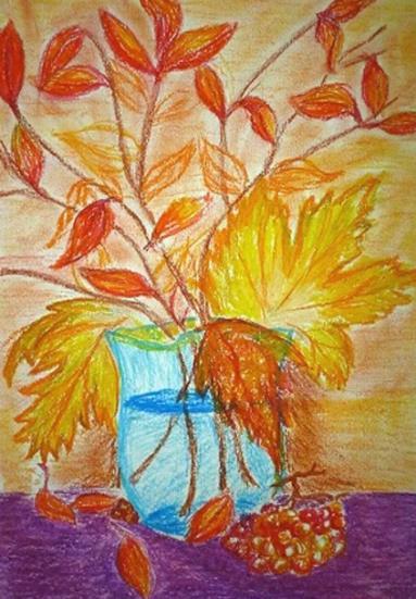 ваза с осенним букетом