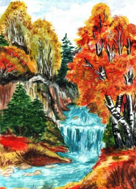 водопад осенью рисунок карандашом