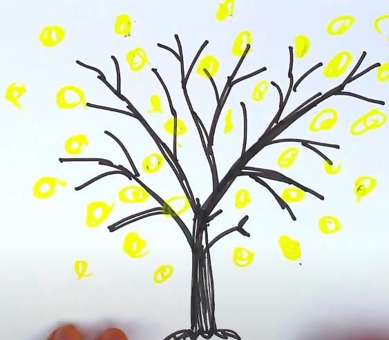 желтый орнамент на ветках