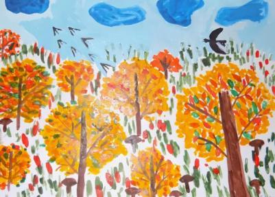 золотая осень рисунок для маленьких детей