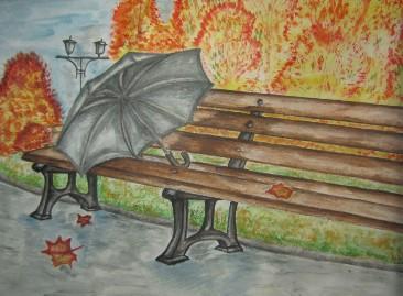 зонт на скамье