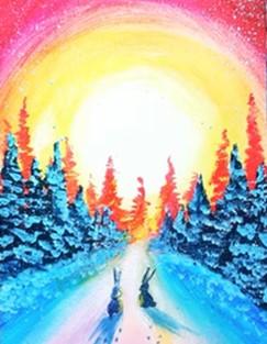 рассвет в лесу гуашью