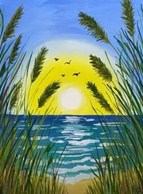 рассвет на море гуашью
