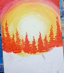 рыжие тени деревьев